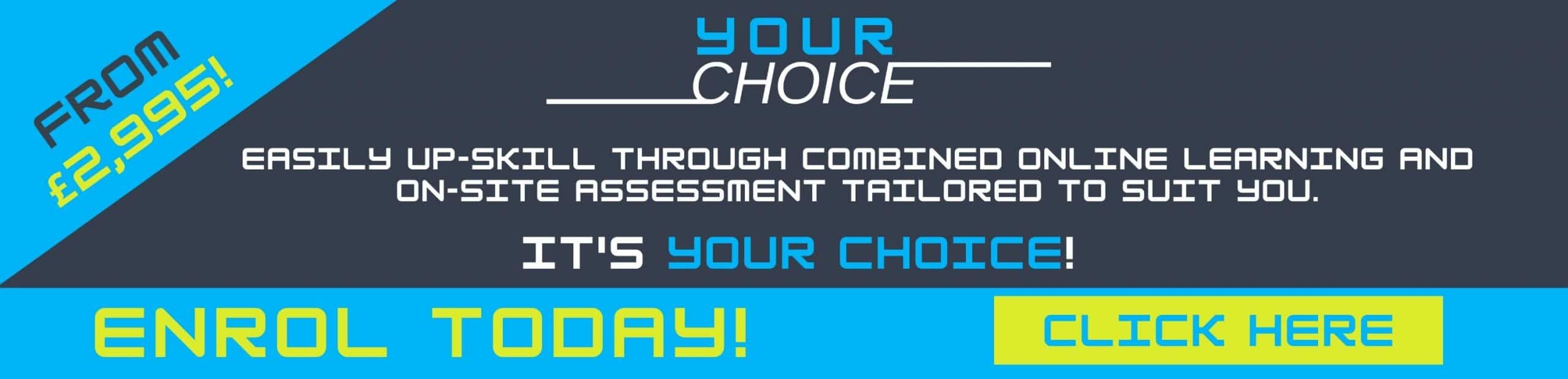 YOUR CHOICE by Choice Training Home page slide 4 Online NVQ info